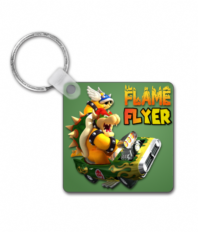 Flame Flyer Square Keyring from Mario Kart